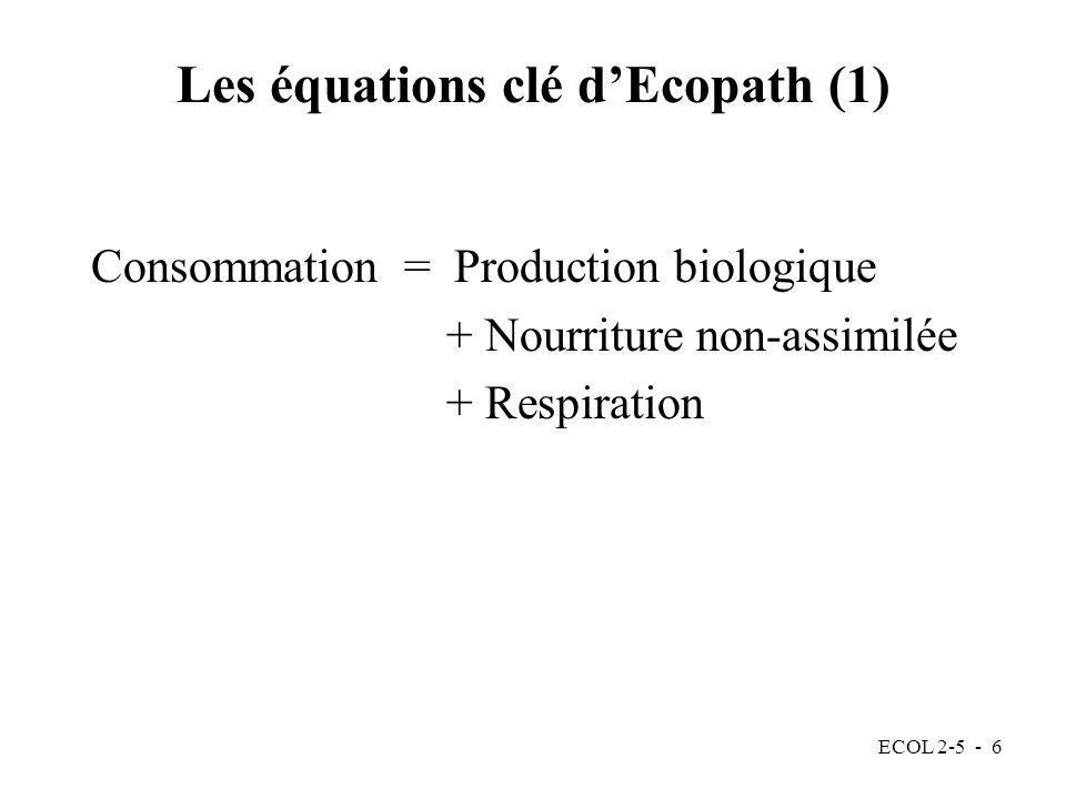 Les équations clé d'Ecopath (1)