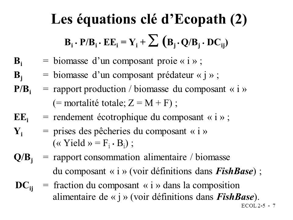 Les équations clé d'Ecopath (2)