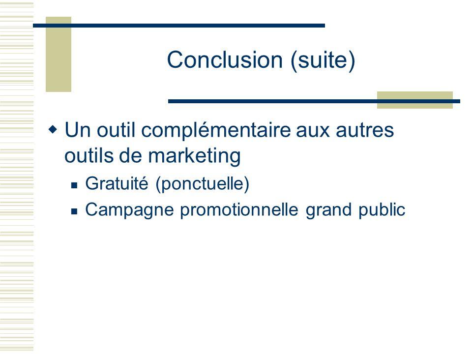 Conclusion (suite) Un outil complémentaire aux autres outils de marketing.