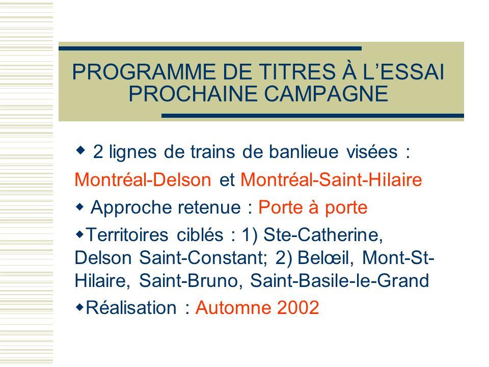 PROGRAMME DE TITRES À L'ESSAI PROCHAINE CAMPAGNE