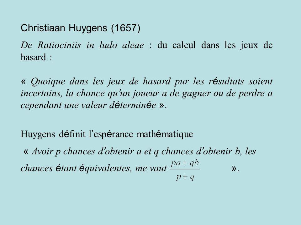 Christiaan Huygens (1657) De Ratiociniis in ludo aleae : du calcul dans les jeux de hasard :