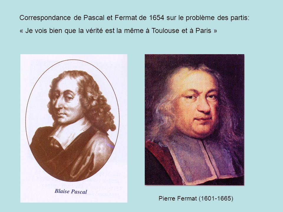 Correspondance de Pascal et Fermat de 1654 sur le problème des partis: