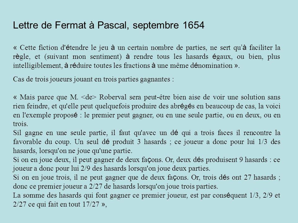 Lettre de Fermat à Pascal, septembre 1654