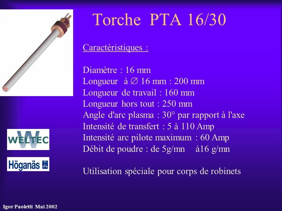 Torche PTA 16/30 Caractéristiques : Diamètre : 16 mm