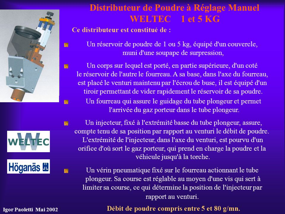 Distributeur de Poudre à Réglage Manuel WELTEC 1 et 5 KG