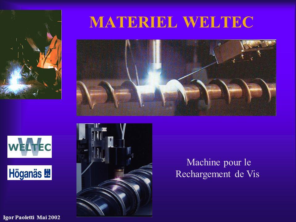 MATERIEL WELTEC Machine pour le Rechargement de Vis