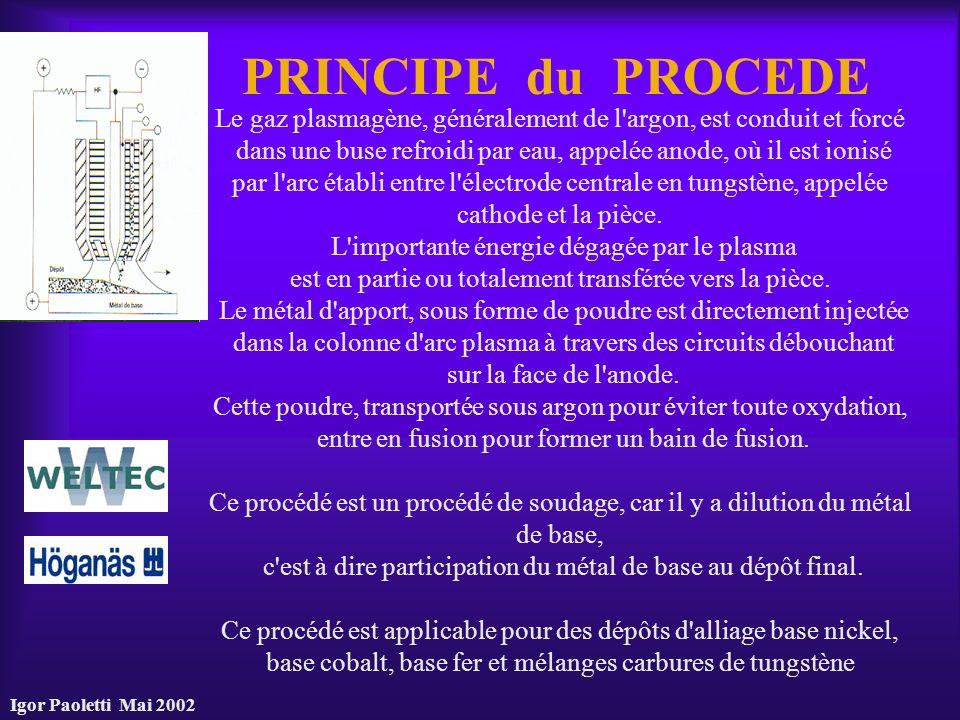 PRINCIPE du PROCEDE Le gaz plasmagène, généralement de l argon, est conduit et forcé.