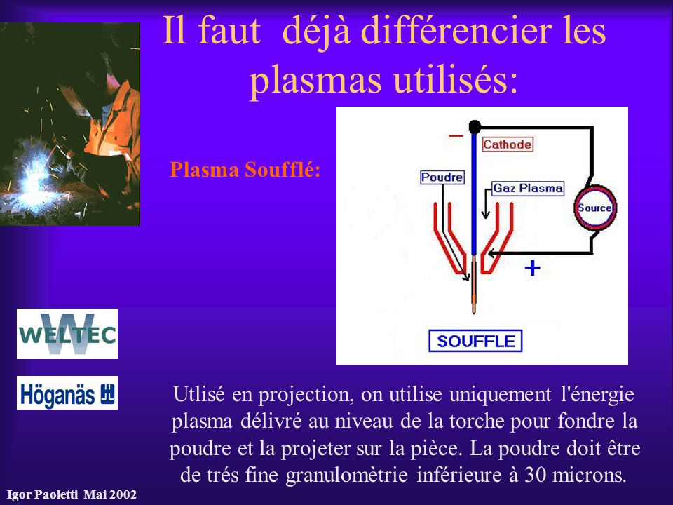 Il faut déjà différencier les plasmas utilisés:
