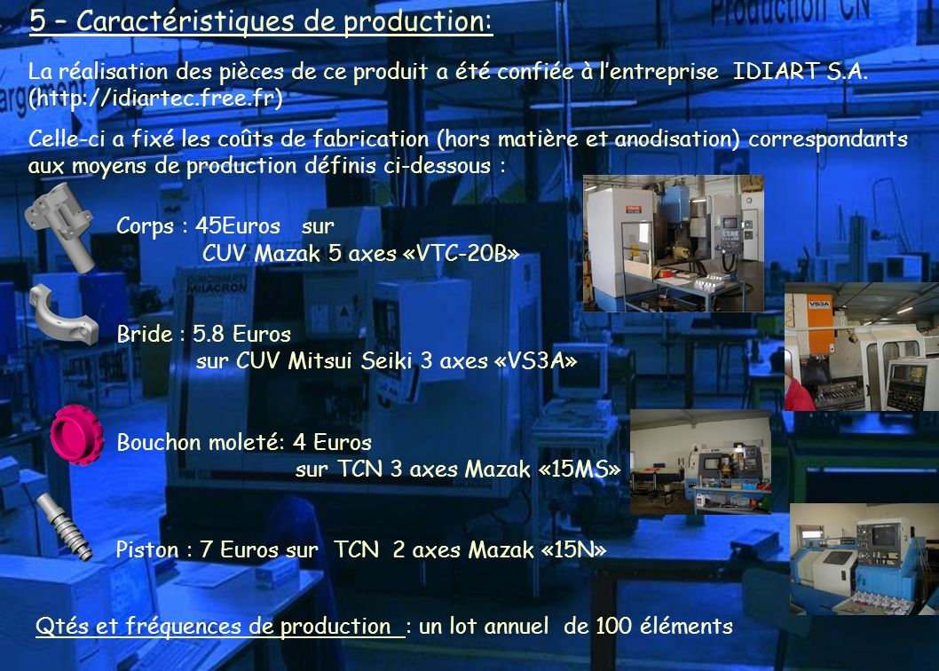 5 – Caractéristiques de production: