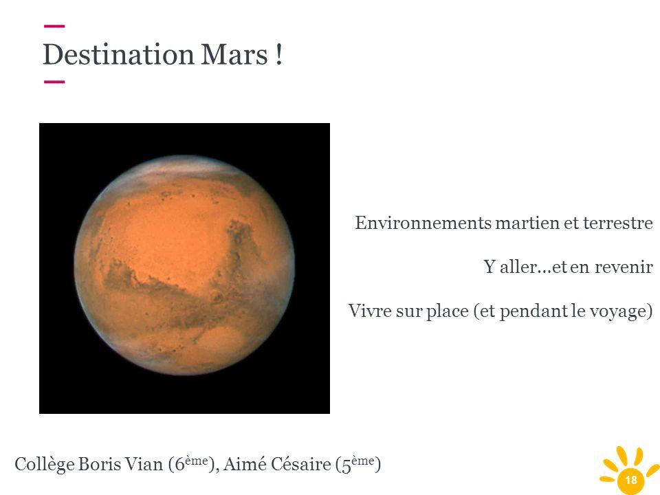 Destination Mars ! Environnements martien et terrestre