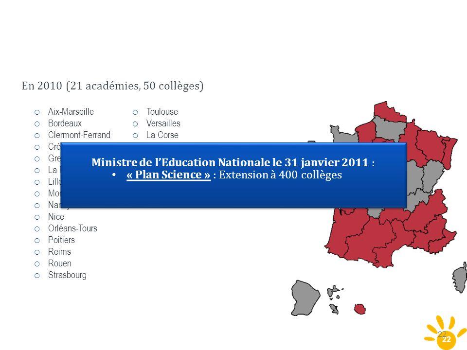 Ministre de l'Education Nationale le 31 janvier 2011 :