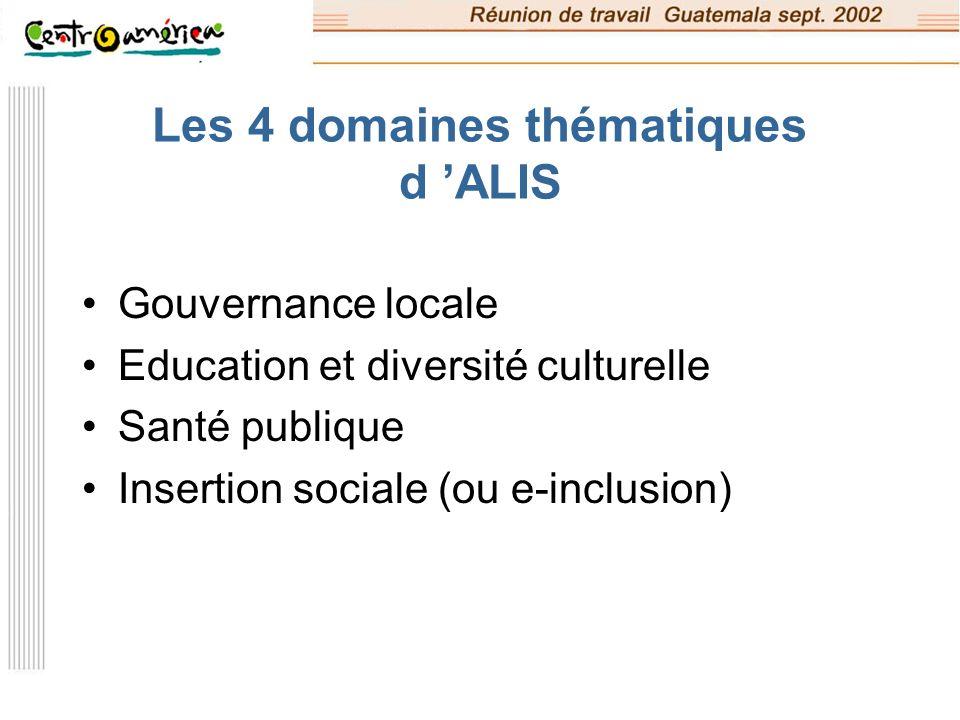 Les 4 domaines thématiques d 'ALIS