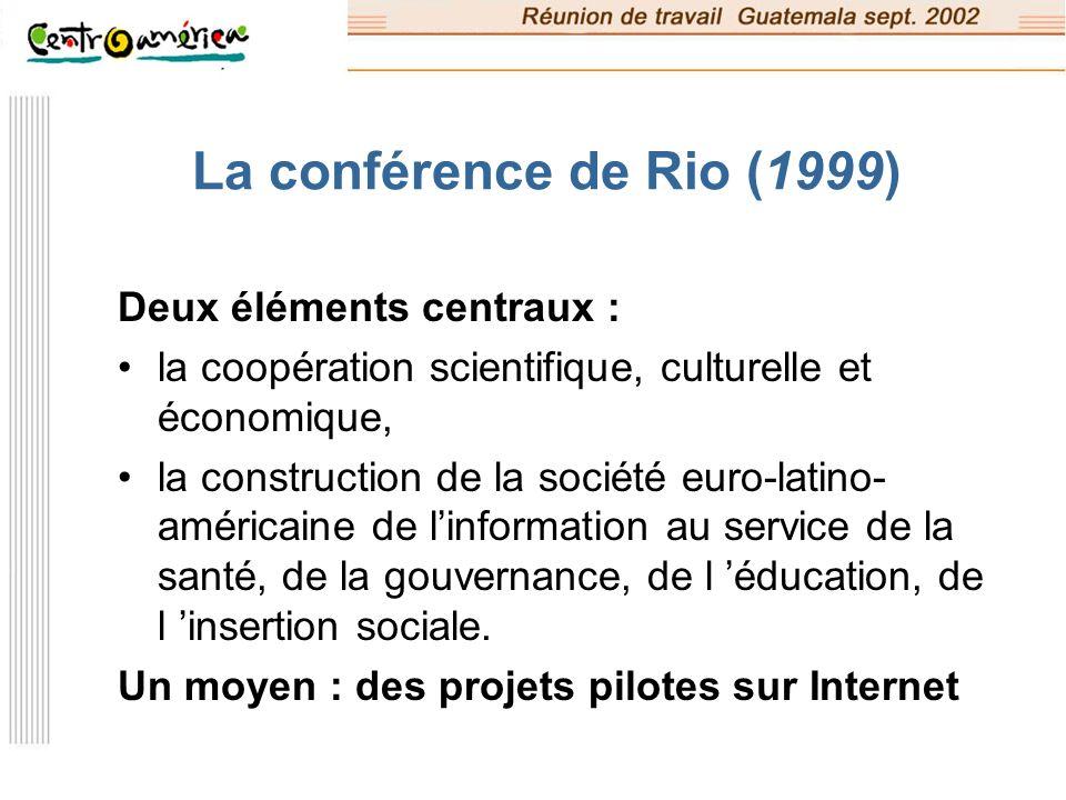 La conférence de Rio (1999) Deux éléments centraux :
