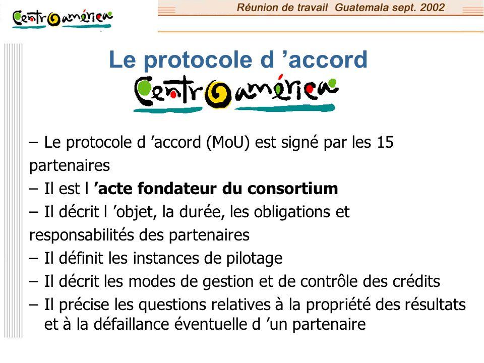 Le protocole d 'accord Le protocole d 'accord (MoU) est signé par les 15. partenaires. Il est l 'acte fondateur du consortium.