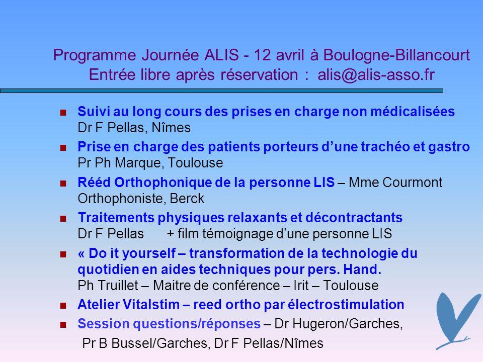 Programme Journée ALIS - 12 avril à Boulogne-Billancourt Entrée libre après réservation : alis@alis-asso.fr
