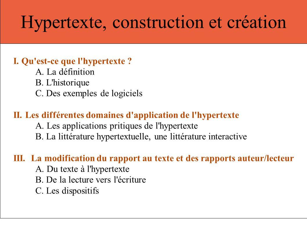 Hypertexte, construction et création