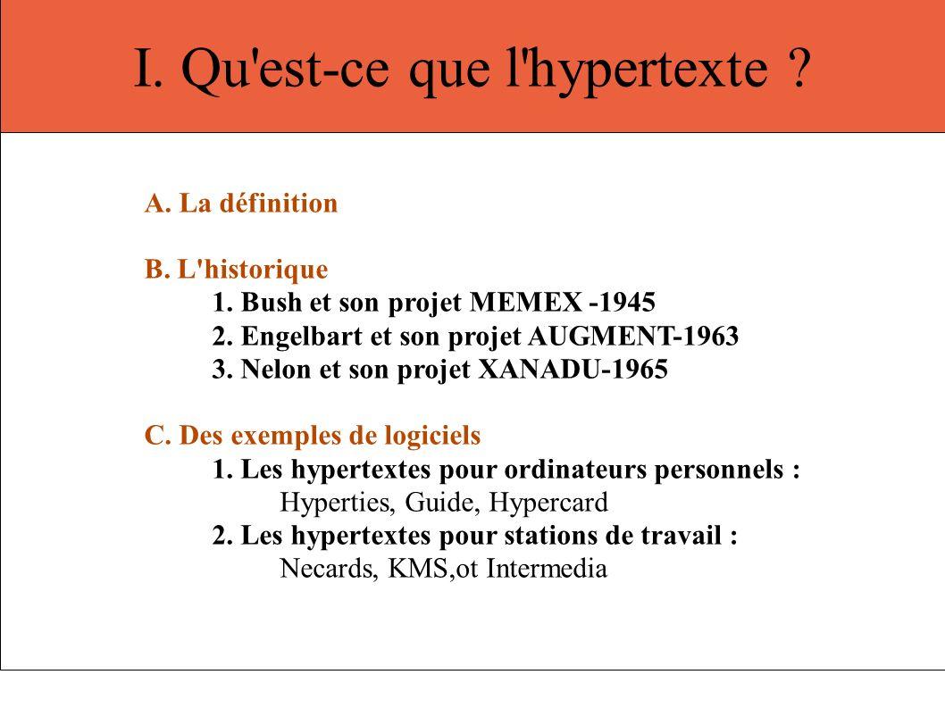 I. Qu est-ce que l hypertexte