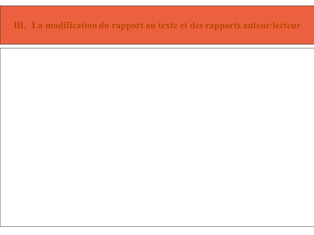 III. La modification du rapport au texte et des rapports auteur/lecteur