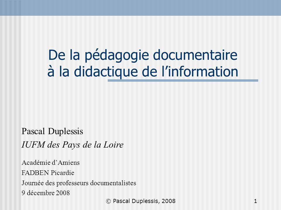 De la pédagogie documentaire à la didactique de l'information