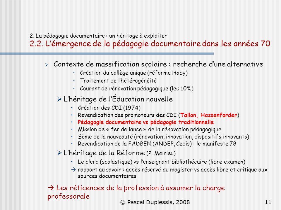 Contexte de massification scolaire : recherche d'une alternative