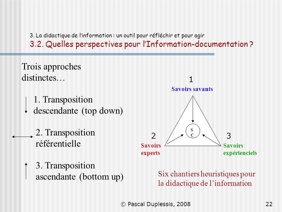 Trois approches distinctes…