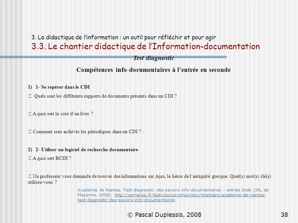 Compétences info-documentaires à l'entrée en seconde