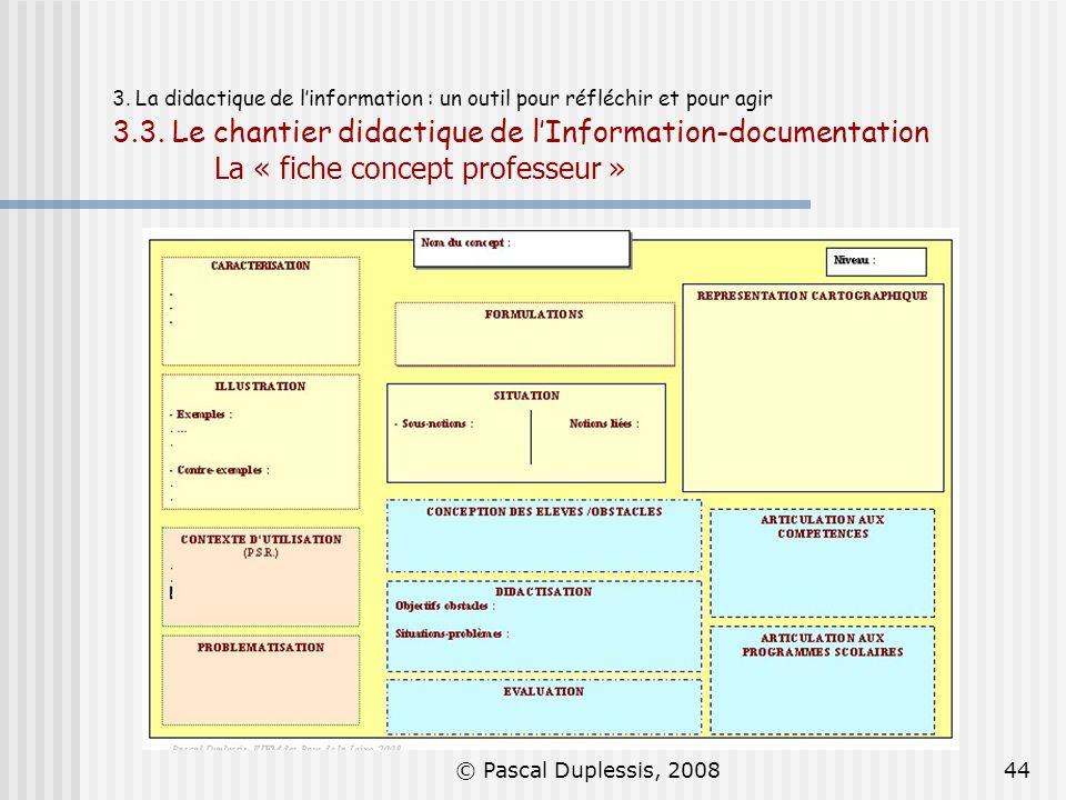3. La didactique de l'information : un outil pour réfléchir et pour agir 3.3. Le chantier didactique de l'Information-documentation La « fiche concept professeur »