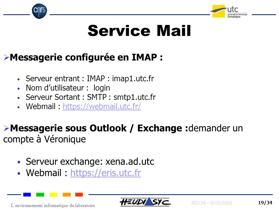 Service Mail Messagerie configurée en IMAP :