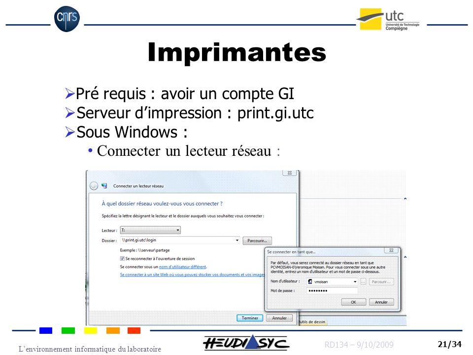 Imprimantes Pré requis : avoir un compte GI