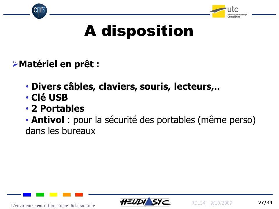 A disposition Matériel en prêt :