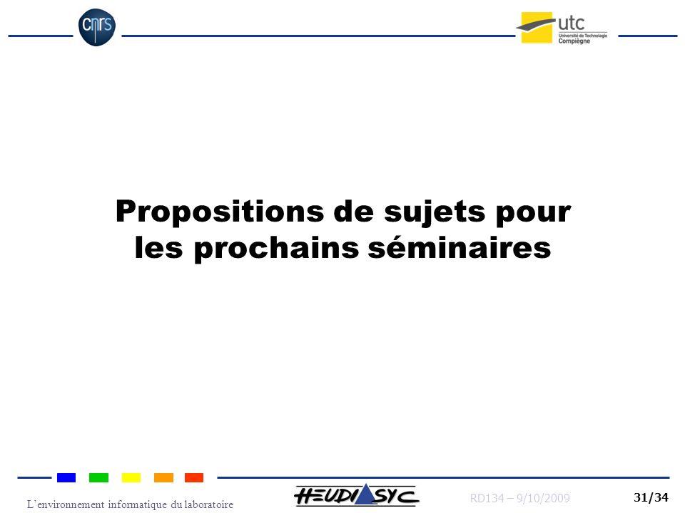 Propositions de sujets pour les prochains séminaires