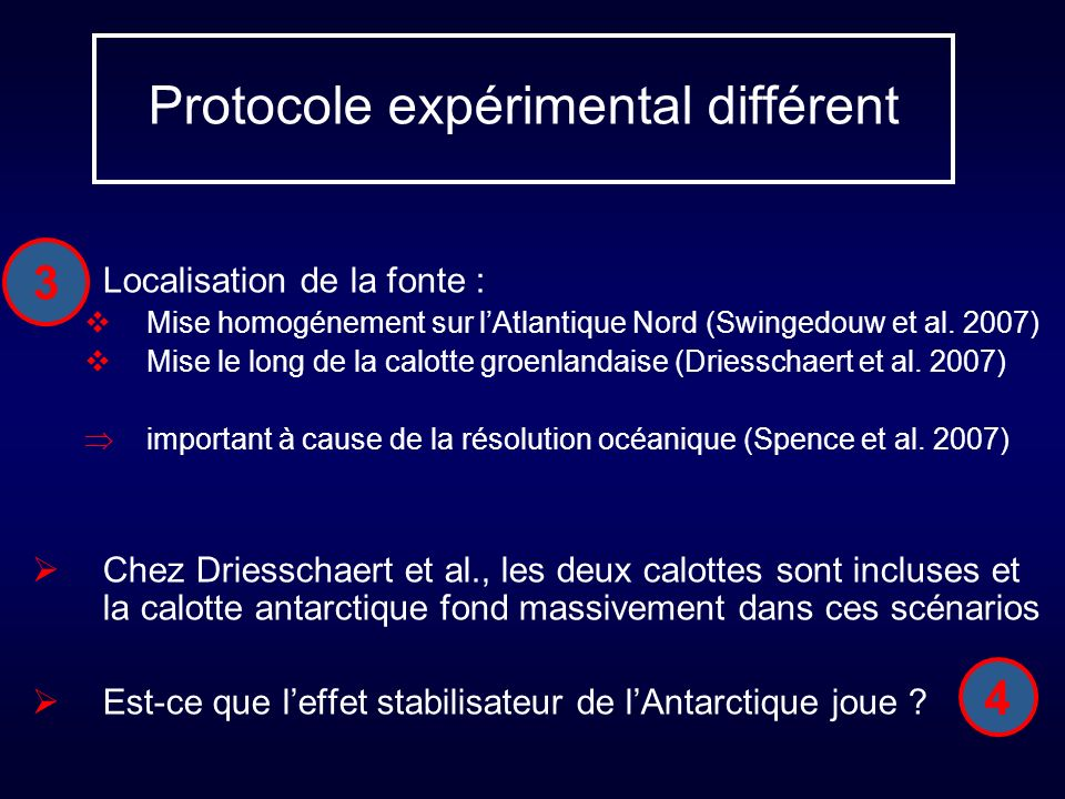 Protocole expérimental différent