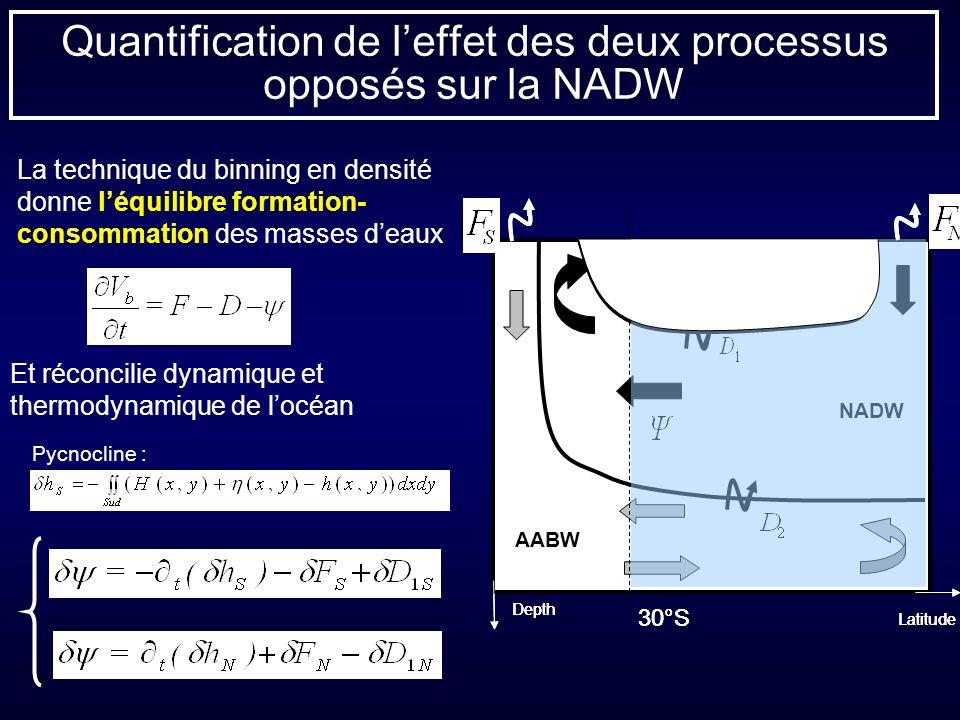 Quantification de l'effet des deux processus opposés sur la NADW