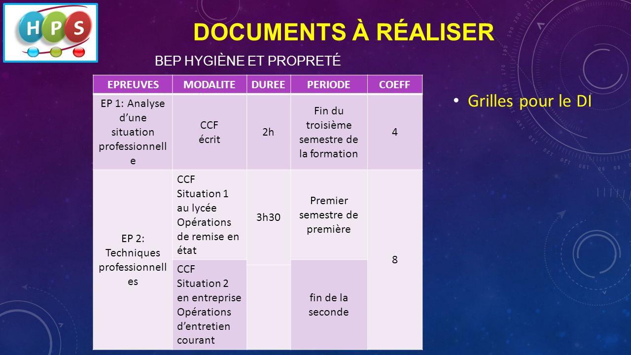 Documents à réaliser Grilles pour le DI BEP Hygiène et propreté