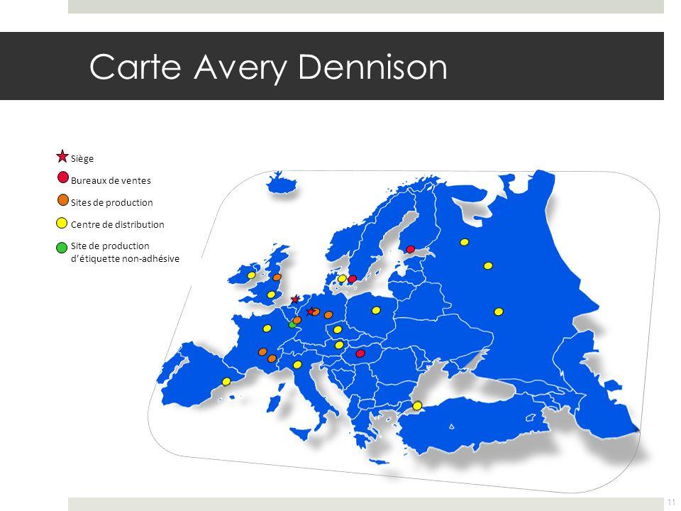 Carte Avery Dennison Siège Bureaux de ventes Sites de production