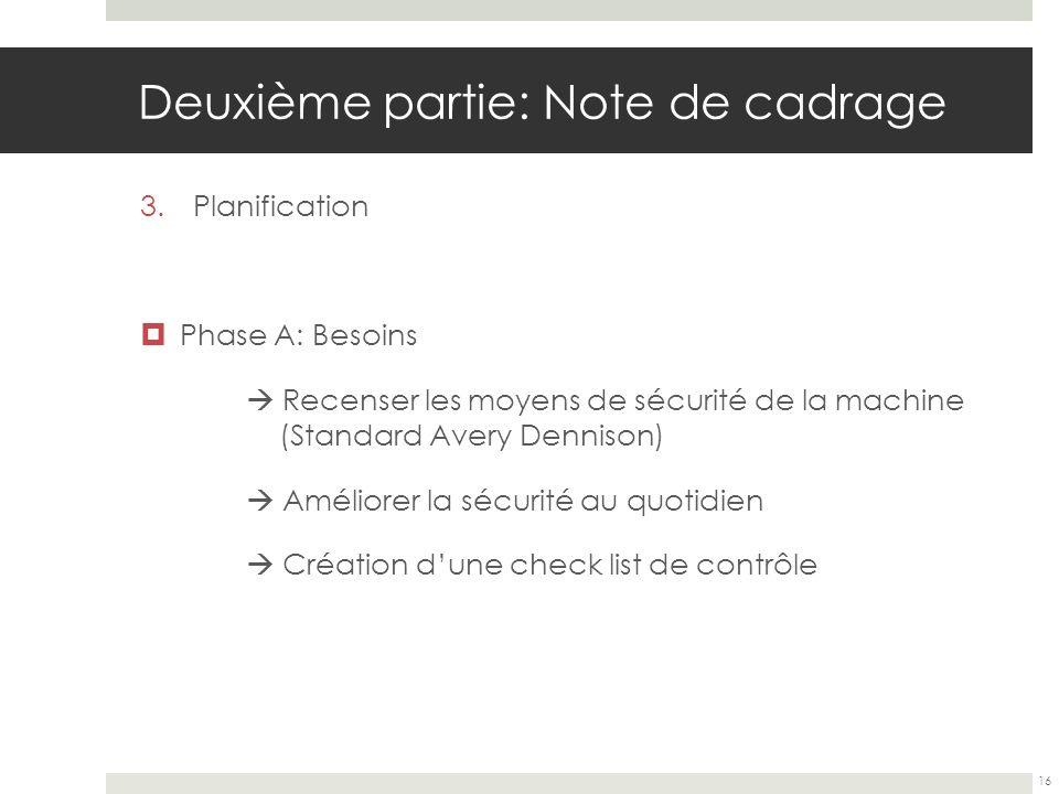 Deuxième partie: Note de cadrage