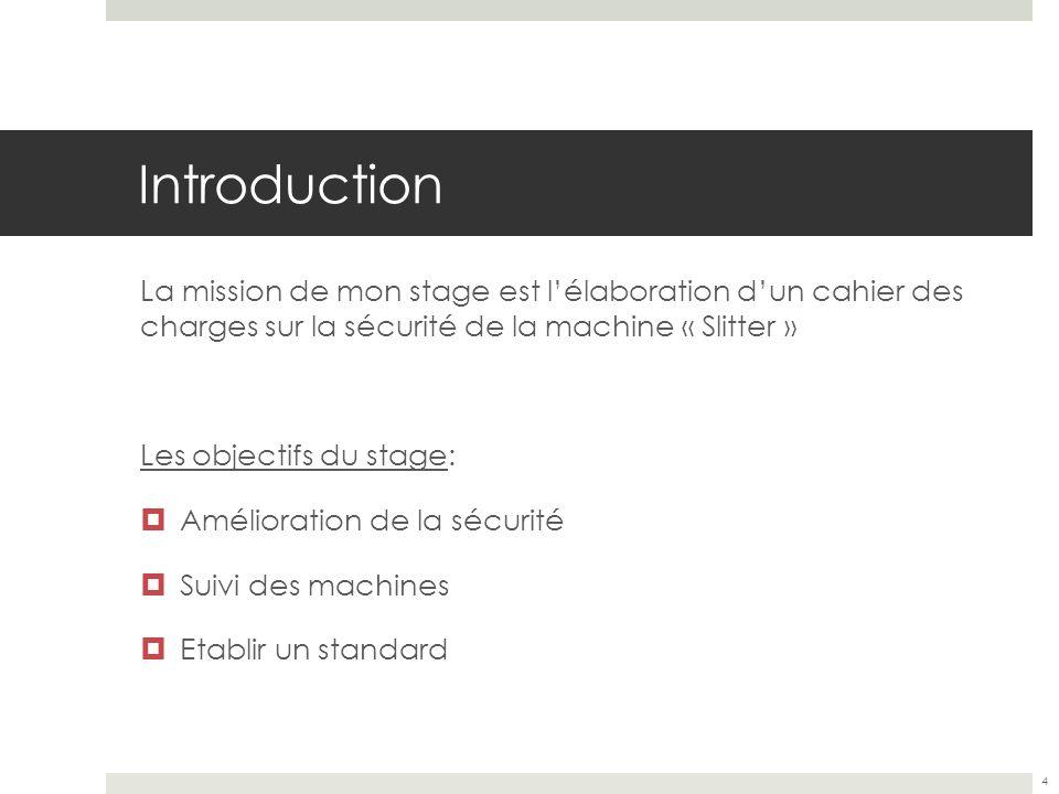 Introduction La mission de mon stage est l'élaboration d'un cahier des charges sur la sécurité de la machine « Slitter »