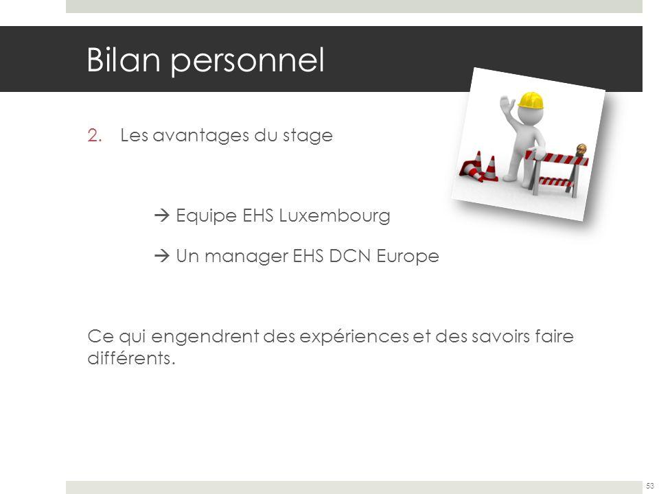 Bilan personnel Les avantages du stage  Equipe EHS Luxembourg