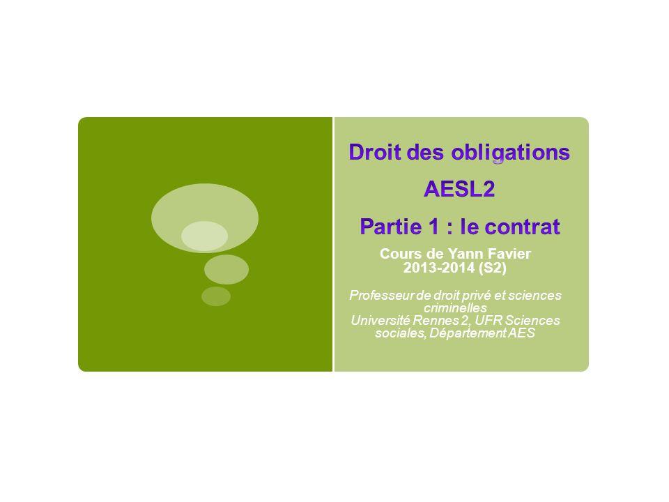 Droit des obligations AESL2 Partie 1 : le contrat