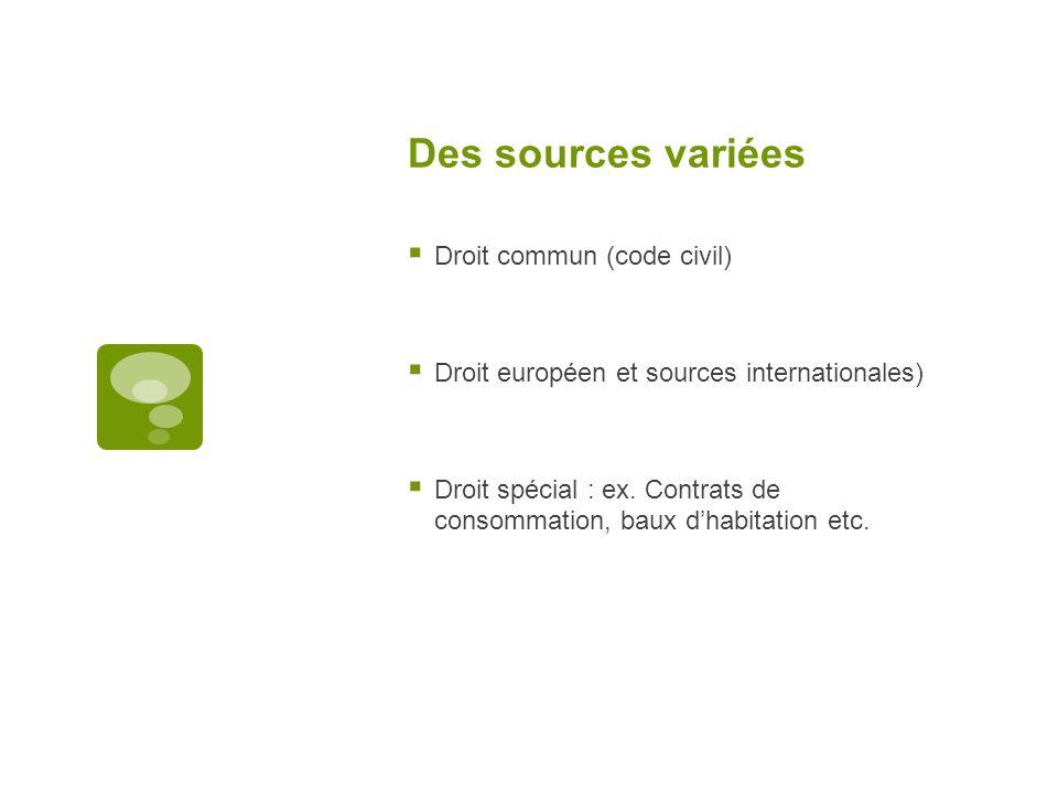 Des sources variées Droit commun (code civil)