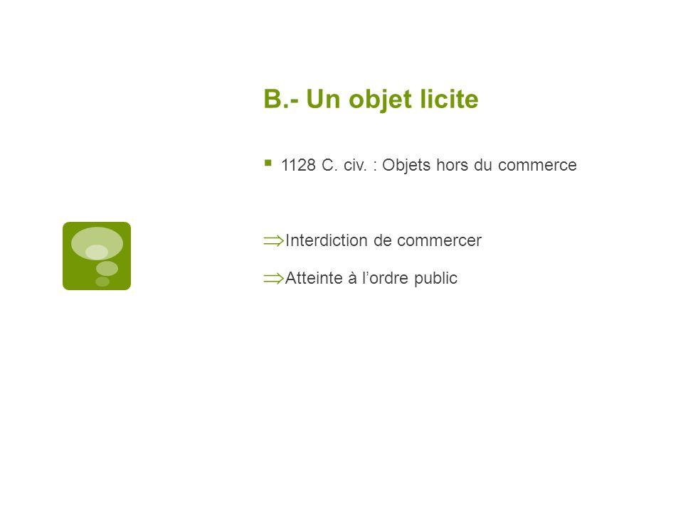 B.- Un objet licite 1128 C. civ. : Objets hors du commerce