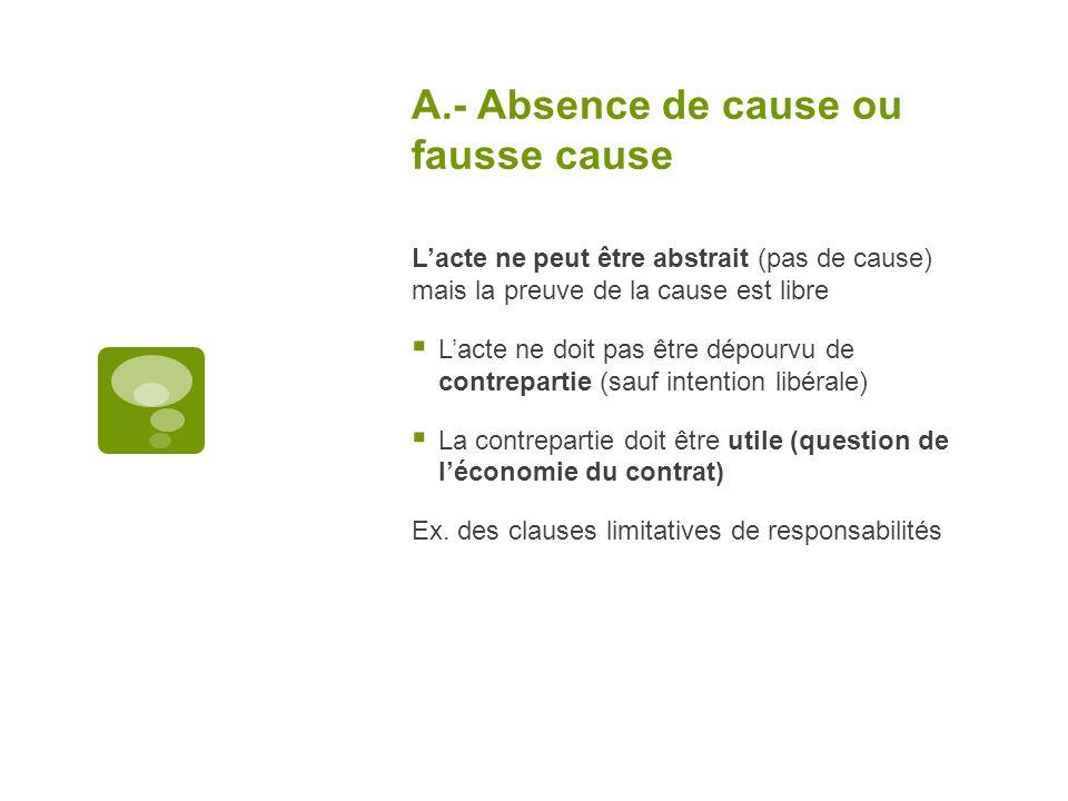 A.- Absence de cause ou fausse cause