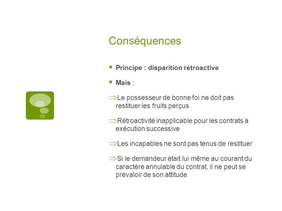 Conséquences Principe : disparition rétroactive Mais :