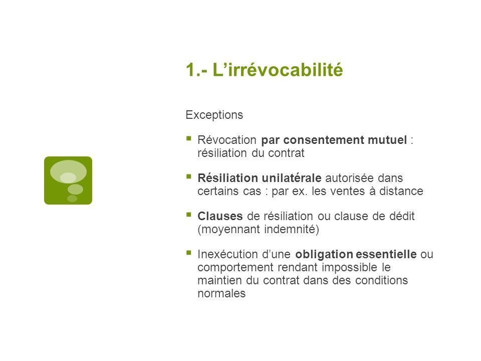 1.- L'irrévocabilité Exceptions
