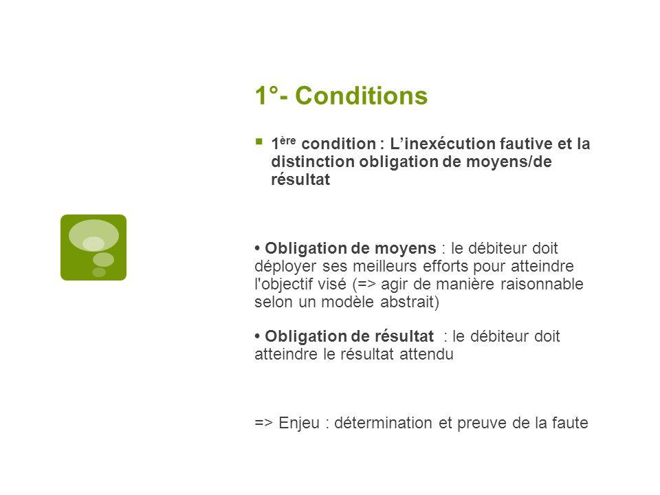 1°- Conditions 1ère condition : L'inexécution fautive et la distinction obligation de moyens/de résultat.