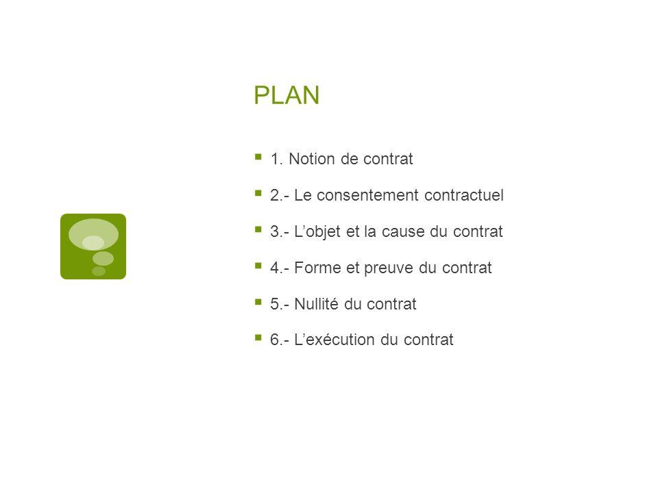 PLAN 1. Notion de contrat 2.- Le consentement contractuel