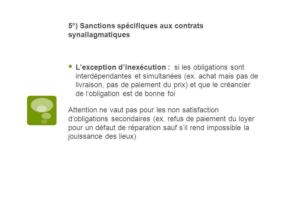5°) Sanctions spécifiques aux contrats synallagmatiques
