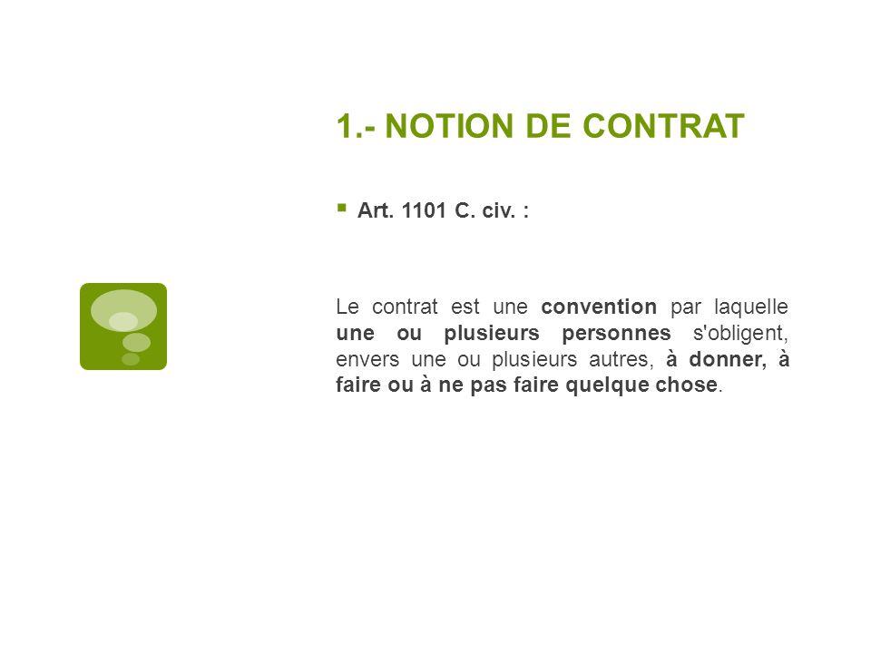 1.- NOTION DE CONTRAT Art. 1101 C. civ. :