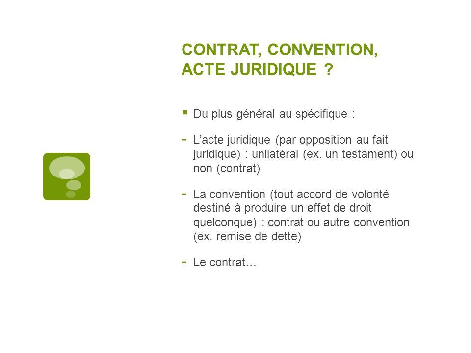 CONTRAT, CONVENTION, ACTE JURIDIQUE