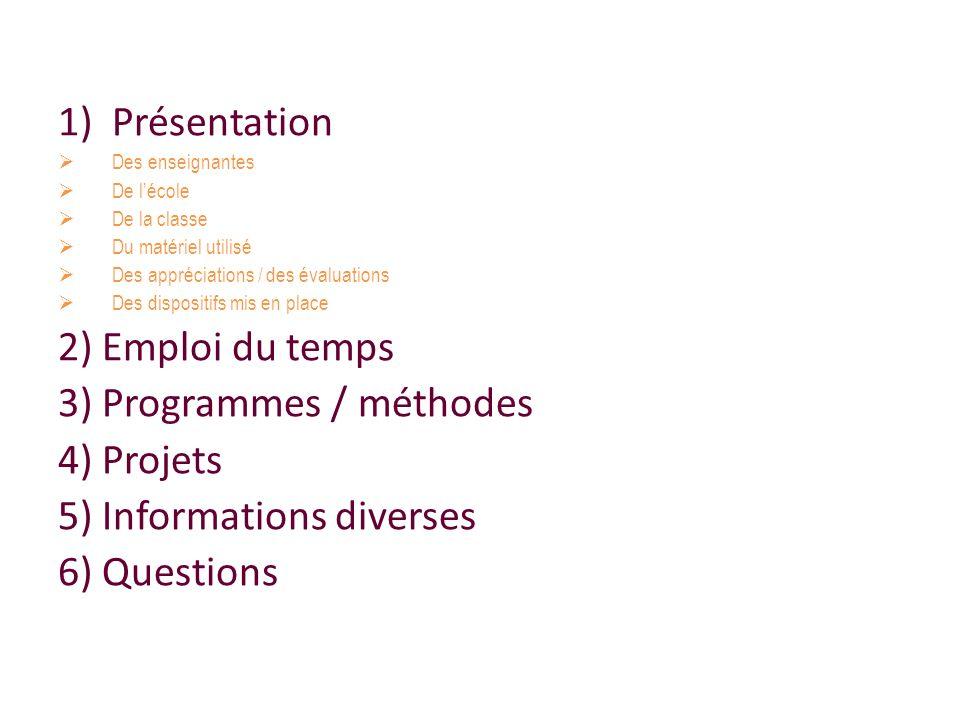 3) Programmes / méthodes 4) Projets 5) Informations diverses